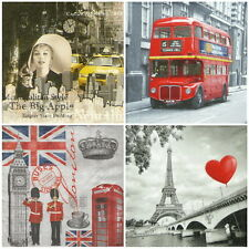"4x Single Table Paper Napkins for Party Decoupage Craft  ""Around the World Mix"