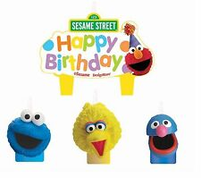 (4pc) Sesame Street Elmo Happy Birthday Party Candles Cake Topper Decoration Set