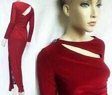 LAUREN Ralph Lauren 4 Side Split Ruched Evening Maxi Jersey Dress Gown Women NWT