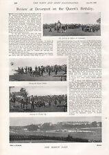1897 ANTIQUE MILITARY PRINT- REVIEW AT DEVONPORT ON THE QUEEN'S BIRTHDAY