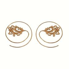 New Spiral Brass Earring Hoop Vintage Gypsy Tribal Jewelry Women Gold Large Pair