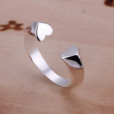 925 Sterling Silver Heart Plain Band Ring Size 8 B13