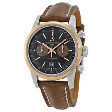 Breitling Transocean Chrono 38 Black Dial Brown leather Mens Watch