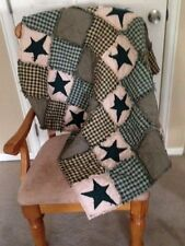 NEW Plaid Homespun PriMiTivE Rag Quilt Green Tan Stars Throw Country Handmade
