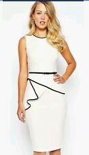COAST * SHELLY * TIPPED WHITE DRESS SIZE 18 NEW WITH TAGS
