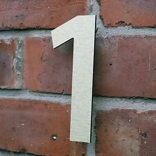 Stylish Modern House Number Brushed Gold Aluminium Composite 6 in (150mm)