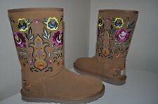 NEW UGG Australia JULIETTE Classic Tall CHESTNUT Embroidered Floral Boots 5 - 36