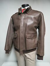 LL Bean Flying Tiger Leather Bomber A2 Aviator Jacket Mens SZ L Dark Brown