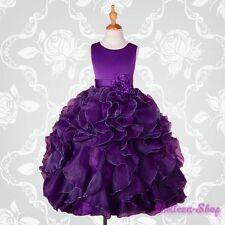 Dark Purple Satin Organza Dress Wedding Flower Girl Pageant Party Size 4 FG234