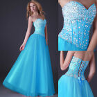 Beaded Corset Evening Formal Party Prom Dresses Long Ball gown 2 4 6 8 10 12 14+