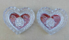 2 X Vintage Heart Shaped Glass Pin / Trinket Dishes