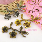 4Pcs Tibetan Silver,Gold,Bronze Flower Charm Pendants Connectors M1337