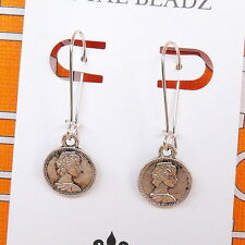 Small Coin Charm Silver Plated Kidney Wire Drop Dangle BoHo Style Earrings