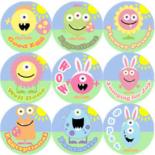 144 Monster Easter Praise Words 30mm Children's Reward Stickers for Teachers