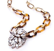 FAUX TORTOISE SHELL CHUNKY ACRYLIC CHAIN & Crystal Rhinestone Statement Necklace