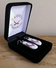 FRENCH PORCELAIN FLIP FLOPS PAIR OF EARRINGS + VELVET JEWELRY BOX. SILVER PLATED