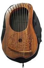 New Lyre Harp Engraved Celtic Welsh Dragon/Lyra Harp Sheesham Wood Dragon