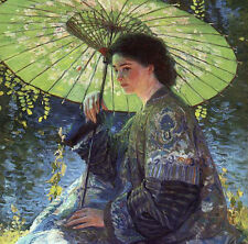 Huge oil painting Guy Rose - Nice lady The Green Parasol by river Hand painted