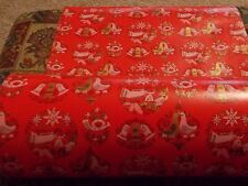 VTG CHRISTMAS WRAPPING PAPER 2 YARDS GIFT WRAP ANGELS BELLS & GOLD ACCENTS 1960