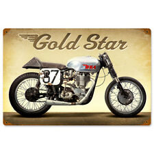 Gold Star BSA Metal Sign 18x12 Distressed Vintage Motorcycle Garage Decor