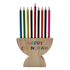 Chanuka Menorah Wooden Pencil Holder - Includes 9 colourful Pencils