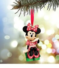 Disney Authentic Pink Minnie Mouse Glitter Holiday Christmas Ornament Figure NEW