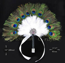 Peacock White Feathers Bridal Bouquet Bridesmaid  Fan wedding favors