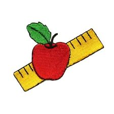 ID 0953A School Apple Ruler Class Teacher Embroidered Iron On Applique Patch