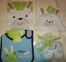 Carter's Just One Year Boy BABY EASTER Frog Bib Booties Mittens + Bunny Hat bib