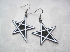 LARGE SHINY BLACK WHITE ENAMEL STAR Drop Earrings Monochrome Pentagram Wicca
