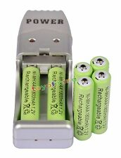 6 XAAA1800mah1.2V NiMH rechargeable battery Green +USB Charger MP3