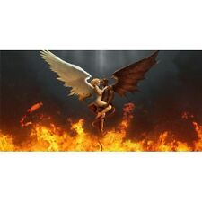 angel & devil color photo fire wings auto car metal license plate made in usa