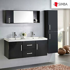 BATHROOM CABINET 120 CM BATHROOM FURNITURE DOUBLE SINK, MIRROR, TAPS INCL, Malib