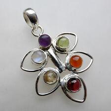 Sólido 925 plata esterlina joyas de la hoja Multi Colgante de piedras preciosas Regalos Para Mujer