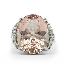16.96ct Natural Pink Morganite Ring With 18pcs VS/G Diamond in Sterling Silver