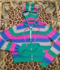New HURLEY Multi Color Striped Hoodied Lightweight Sweater Juniors Size Small
