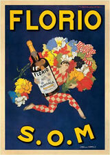 WINE BAR ART PRINT - FLORIO, 1915 S.O.M Marcello Dudovich 24x32 Vintage Poster