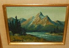 HOWARD SMALL SNOW MOUNTAIN RIVER LANDSCAPE ORIGINAL OIL ON BOARD PAINTING #2
