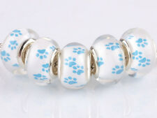 HOT 5pcs Big hole SILVER MURANO bead LAMPWORK fit European Charm Bracelet AA135