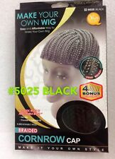 QFITT BRAIDED CORNROW CAP #5025 BLACK  (WAY TO MAKE YOUR OWN WIG) LITE WGT