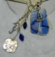 """LOVELY ANTIQUE SEA/BEACH POTTERY NECKLACE! SURF TUMBLED! ENGLAND! BLUE """"WAVES"""""""