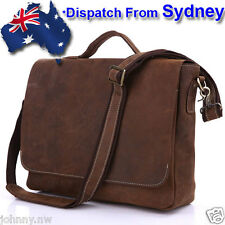 JM270-AU Handmade MENS Genuine Leather Bag Briefcases Messenger Bag Laptop Bag