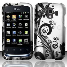 For Huawei AT&T Fusion 2 Rubberized HARD Case Snap On Phone Cover Black Vines
