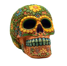 Orange Day of the Dead Sugar Skull Coin Bank Mexican Dia De Los Muertos New