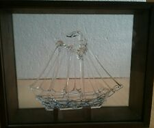 Vintage Spun Glass Tall Ship, Schooner,Sailboat in Wood and Glass Display Case