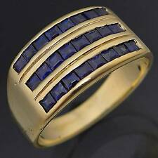 Wide 3 ROW 24 BLUE SAPPHIRE 14k GOLD ETERNITY DRESS RING solid yellow Sz O