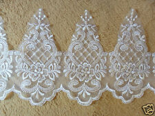 """White Bridal Wedding Embroidered Border Lace Trim Dress & Veil 6""""w * BY-THE-YARD"""