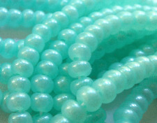 "Czech Seed Beads 6/0 "" TERRA PEARL OPAL PEPPER MINT "" strands"