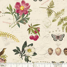 Fat Quarter Botanical Notebook 100% Cotton Quilting Fabric Flowers, Birds, Eggs