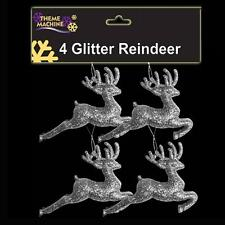 Christmas Tree Decoration 4 Pack Glitter Reindeer's (DP) Choose colour
